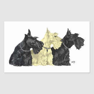 Black & Wheaten Scottish Terriers Rectangular Sticker