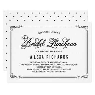 Black Whimsical Borders Bridal Luncheon Invitation