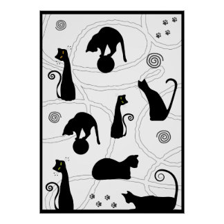 Black Whimsical Cats Poster