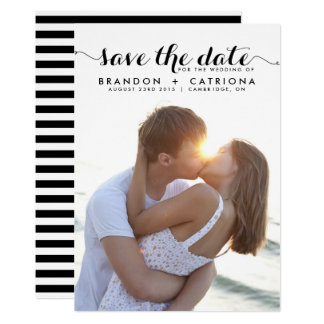 Black Whimsical Script Photo Save the Date Card