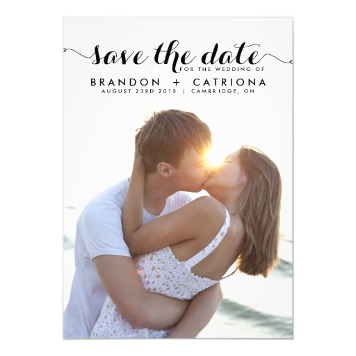 BLACK WHIMSICAL SCRIPT SAVE THE DATE ANNOUNCEMENT