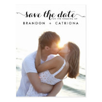 BLACK WHIMSICAL SCRIPT SAVE THE DATE POSTCARD