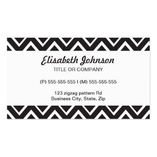 Black whimsical zig zags zigzag chevron pattern business card