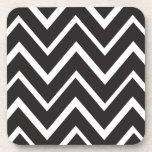 Black whimsical zig zags zigzag chevron pattern coaster