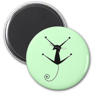 Black Whimsy Kitty 10 2 Inch Round Magnet