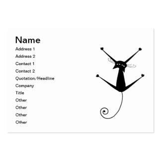 Black Whimsy Kitty 10 Large Business Cards (Pack Of 100)