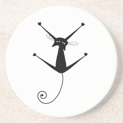 Black Whimsy Kitty 10 Drink Coasters