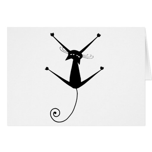 Black Whimsy Kitty 10 Greeting Card