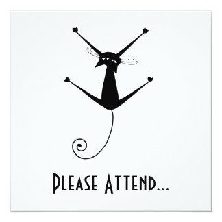 Black Whimsy Kitty 10 Invitation