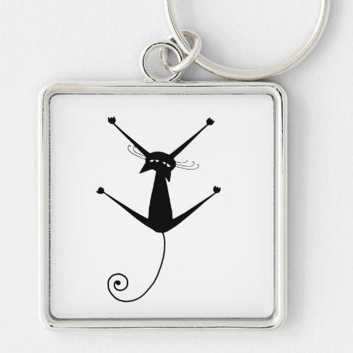 Black Whimsy Kitty 10 Key Chain