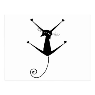 Black Whimsy Kitty 10 Post Card