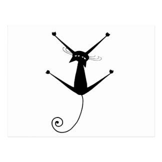 Black Whimsy Kitty 10 Postcard