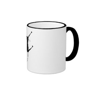 Black Whimsy Kitty 10 Ringer Coffee Mug
