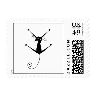 Black Whimsy Kitty 10 Stamp