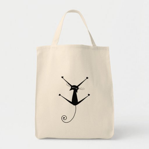 Black Whimsy Kitty 10 Tote Bags