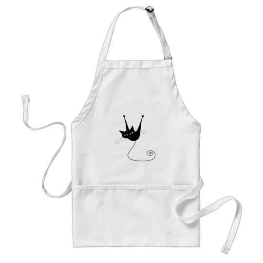 Black Whimsy Kitty 1 Adult Apron