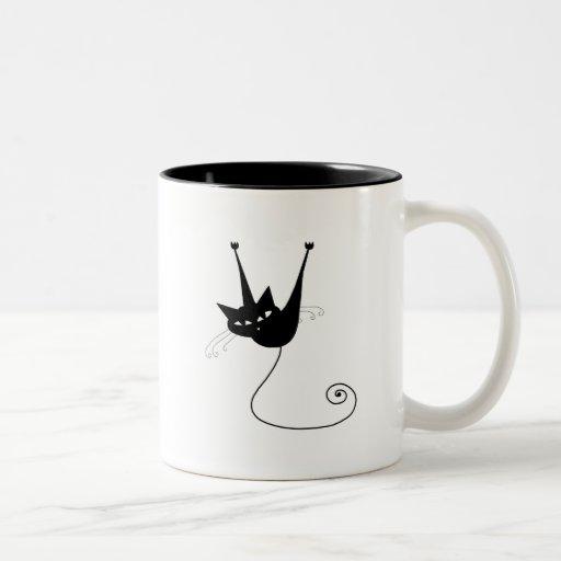 Black Whimsy Kitty 1 Coffee Mug