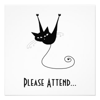 Black Whimsy Kitty 1 Invite
