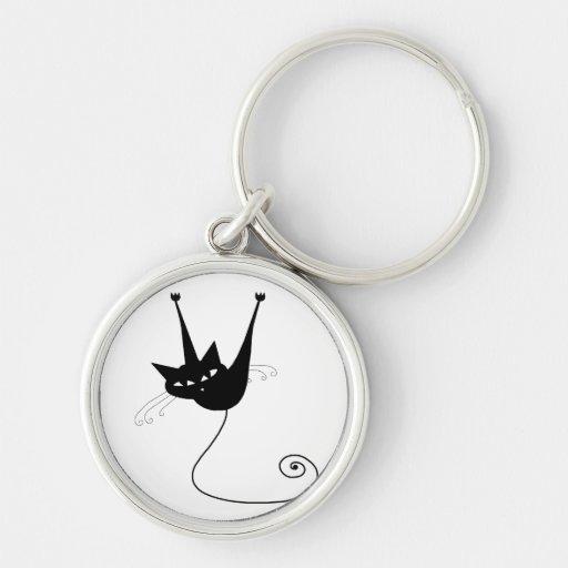 Black Whimsy Kitty 1 Keychain