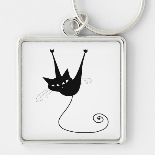 Black Whimsy Kitty 1 Silver-Colored Square Keychain
