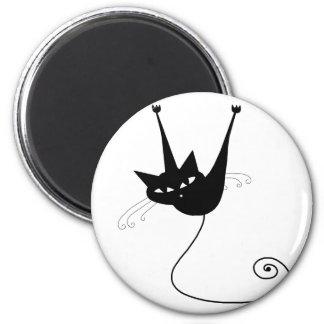 Black Whimsy Kitty 1 Fridge Magnet