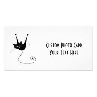 Black Whimsy Kitty 1 Custom Photo Card