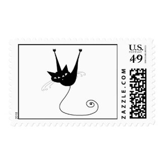 Black Whimsy Kitty 1 Postage Stamps
