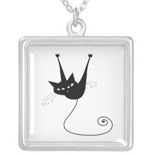 Black Whimsy Kitty 1 Square Pendant Necklace