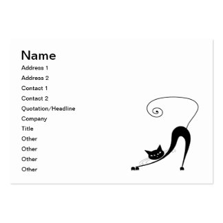 Black Whimsy Kitty 2 Large Business Cards (Pack Of 100)