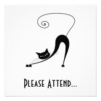 Black Whimsy Kitty 2 Invite