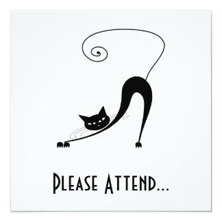 Black Whimsy Kitty 2 5.25x5.25 Square Paper Invitation Card