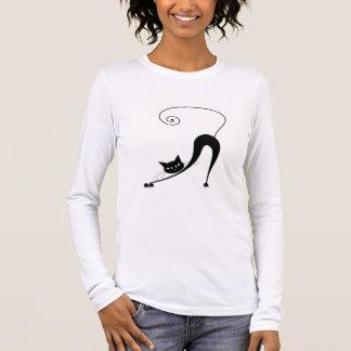 Black Whimsy Kitty 2 Long Sleeve T-Shirt