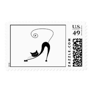 Black Whimsy Kitty 2 Postage Stamp