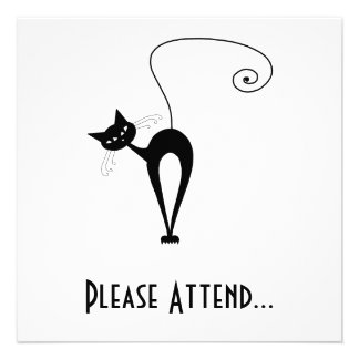 Black Whimsy Kitty 3 Personalized Invite