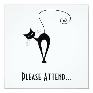 Black Whimsy Kitty 3 5.25x5.25 Square Paper Invitation Card