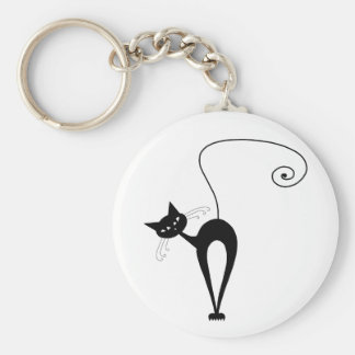 Black Whimsy Kitty 3 Keychain
