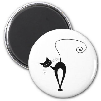 Black Whimsy Kitty 3 Refrigerator Magnets