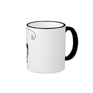 Black Whimsy Kitty 3 Ringer Mug