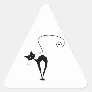 Black Whimsy Kitty 3 Triangle Sticker