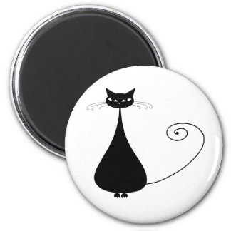 Black Whimsy Kitty 4 2 Inch Round Magnet