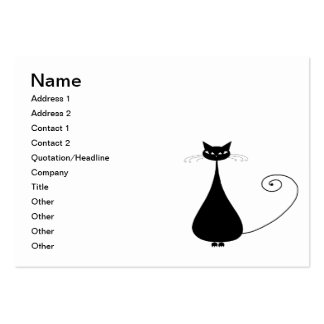 Black Whimsy Kitty 4 Large Business Cards (Pack Of 100)