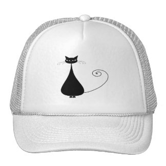 Black Whimsy Kitty 4 Mesh Hats