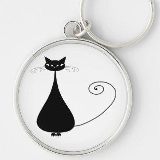 Black Whimsy Kitty 4 Keychain
