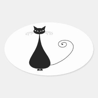 Black Whimsy Kitty 4 Oval Sticker