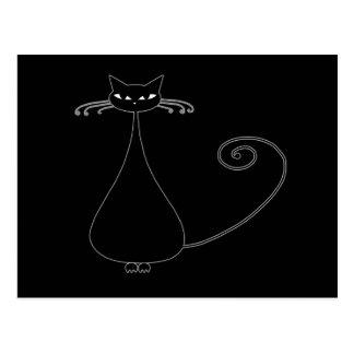 Black Whimsy Kitty 4 Postcard