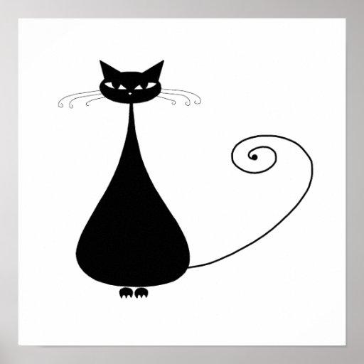 Black Whimsy Kitty 4 Print