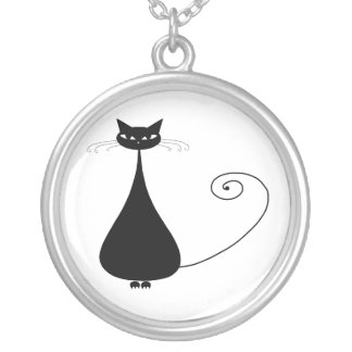 Black Whimsy Kitty 4 Silver Plated Necklace