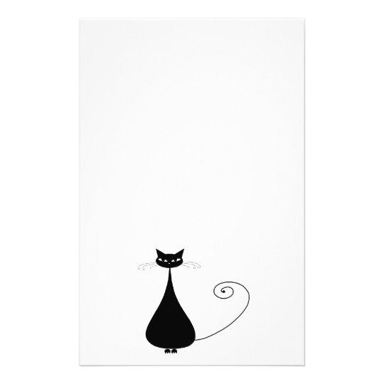 Black Whimsy Kitty 4 Stationery