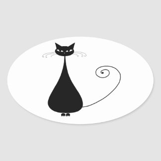 Black Whimsy Kitty 4 Oval Sticker