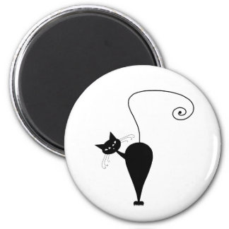 Black Whimsy Kitty 5 2 Inch Round Magnet
